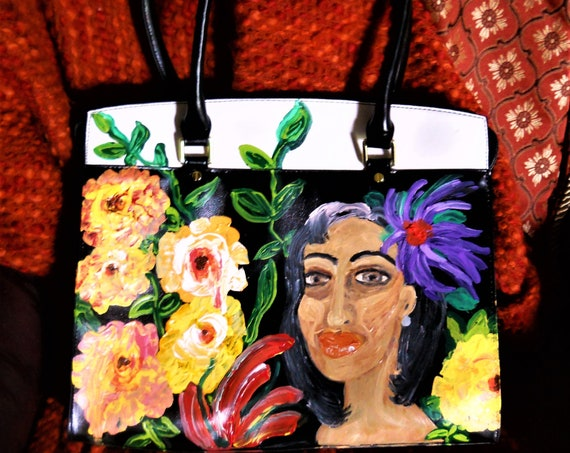 Hand Painted Non-Leather Purse Handbag, Original OOAK Wearable Art by Award Winning Folk Artist, Stacey Torres, tropical, ethnic, floral