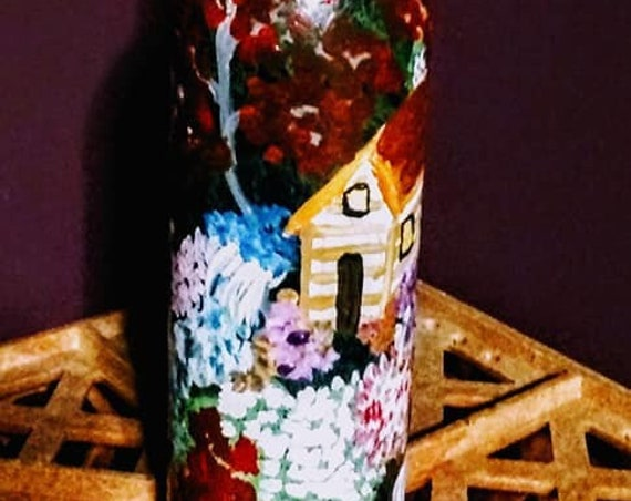 Hand Painted Wine Bottle Night Light/Lamp, Original One-of-a-Kind Art Bottle w/LED lights, by Artist STACEY TORRES