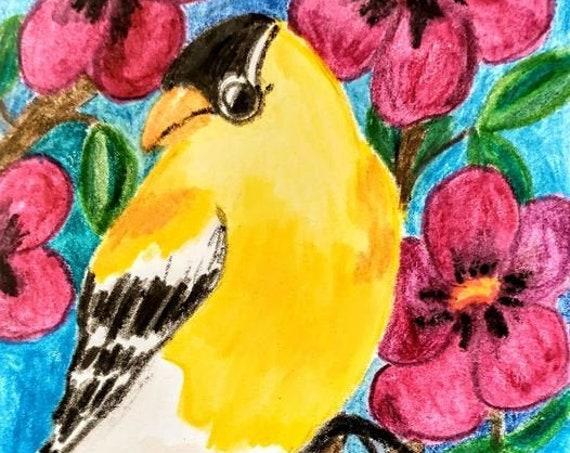 "MY GOLDFINCH Watercolor Pencils on  6x4"" Watercolor Paper, Birds, Folk Art Bird, Folk Artist Stacey Torres, wildlife nature yellow"