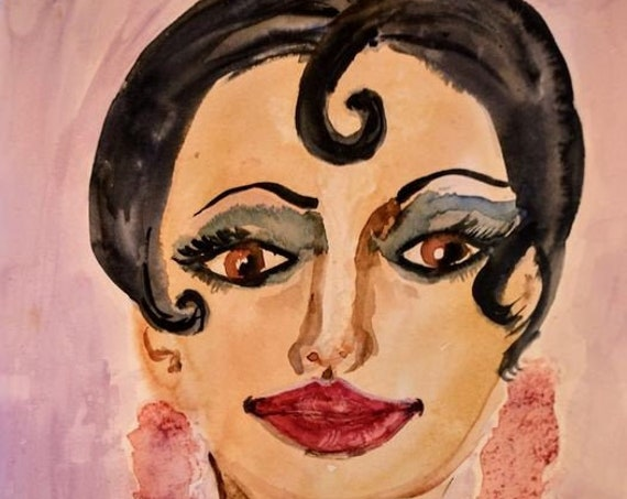 "Original Watercolor Portrait, LA BAKER, Black Art, African American Artist Stacey Torres, Josephine Baker on 12 x 9"" Arches Watercolor Paper"