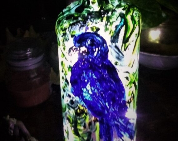 Hand Painted Glass Bourbon Bottle Night Light, Indigo Macaw - Original OOAK Bottle w/LED lights, by Artist Stacey Torres, Blue Bird