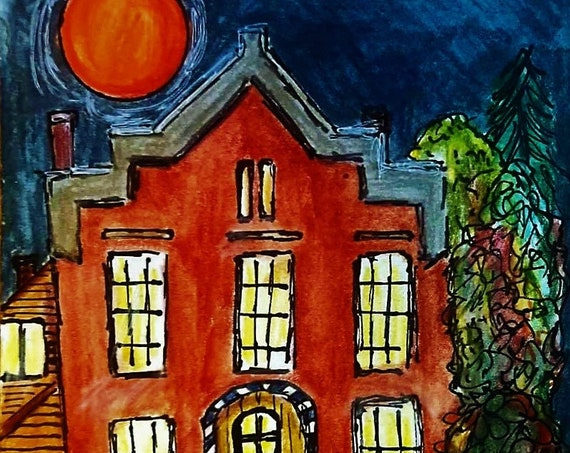 """Riverside Manor - Painting on 6x4"""" 140 lb watercolor paper, house with autumn trees and red Hunters Moon, Stacey Torres Impressionist"""