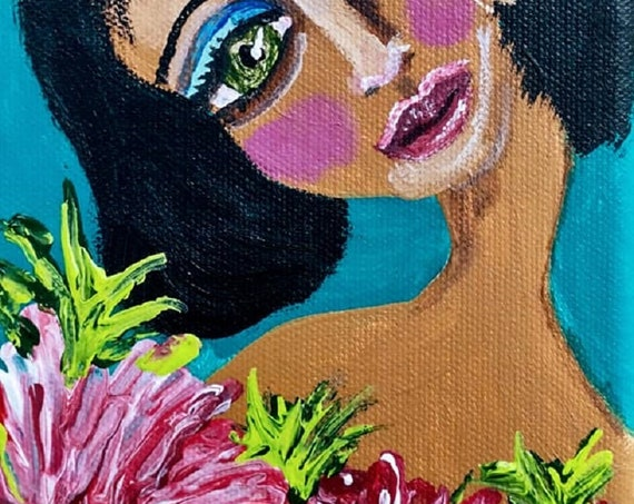 "Original Portrait, MUMSY, Black Art, African American Artist Stacey Torres, Acrylic on 7x5"" Canvas, black woman with pink flowers"