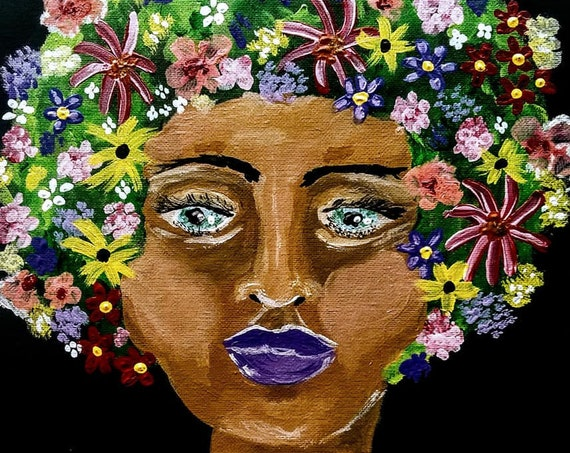 "Portrait of Black Earth Goddess, Acrylic on 12 x 12"" Canvas , ""ELEMENTAL SHE"" Ethnic Folk Art by African American Artist Stacey Torres"