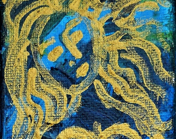 "Original Art ""SIRENA"" Acrylic Abstract Mermaid Painting, 9 x 3"" Canvas,  Award Winning Folk Art, Artist Stacey Torres, line drawing"