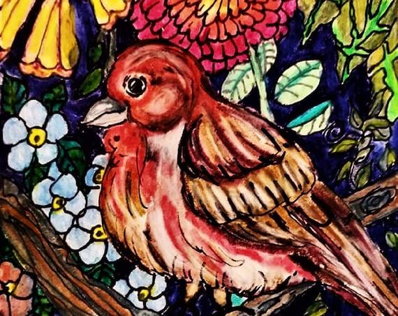 "ANTONIO Watercolor Pencils on  6x4"" Watercolor Paper, Birds, Folk Art Bird, Folk Artist Stacey Torres, wildlife nature colorful art"
