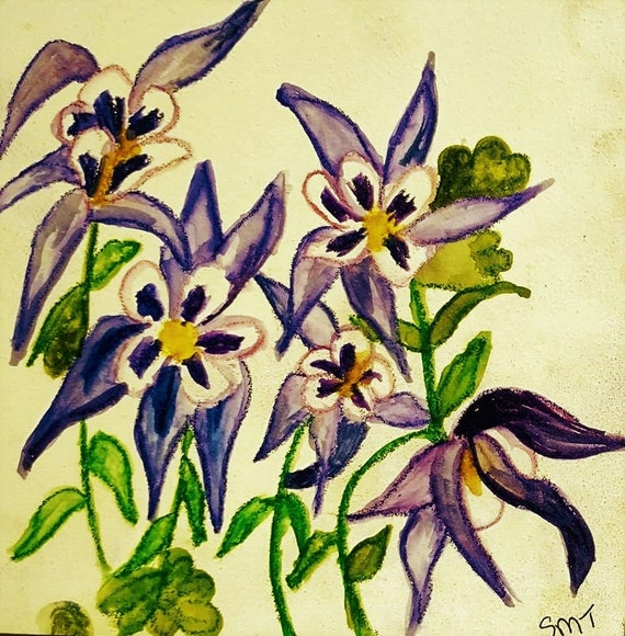 """COLUMBINE, Ink & Watercolor on 5x5"""" Aquabord; Abstract Impressionism by Artist Stacey Torres"""