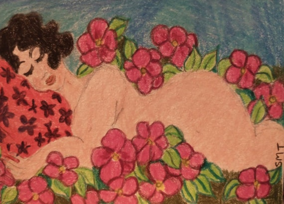 """Small Drawing of a Full Figured Woman Sleeping in the Nude in her Garden, colored pencils on 3x4"""" matboard, by Folk Artist Stacey Torres"""