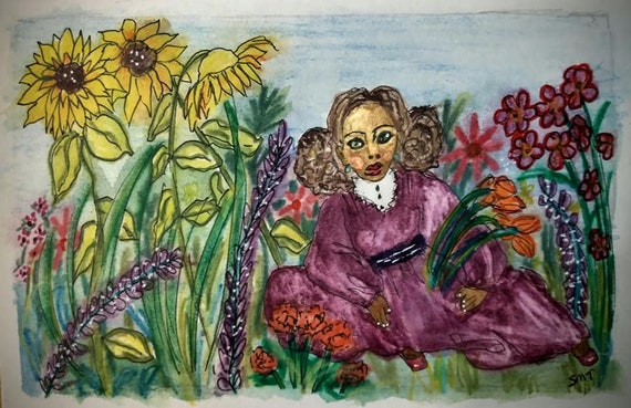 "JOSIE ANN, Derwent Inktense Pencils, black woman in a wild flower garden, sunflowers, purple dress, 4x6"" watercolor paper"