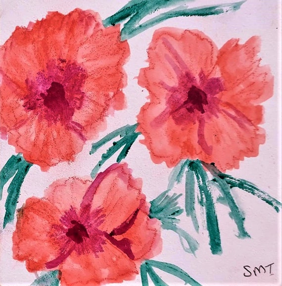 """PINK PINK PINKS, Ink & Watercolor on 5x5"""" Aquabord; flowers, Dianthus, Plein Air, Abstract Impressionism by Artist Stacey Torres"""