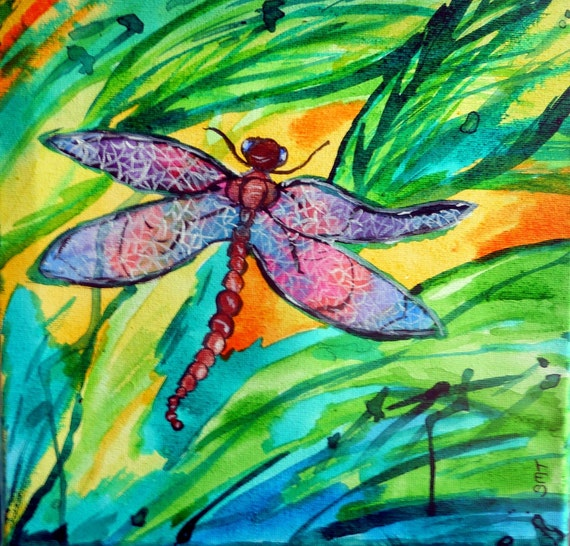 """DRAGONFLY - India Ink on 10 x 10"""" Canvas. Naive Outsider Folk Art African American Folk Artist Stacey Torres"""