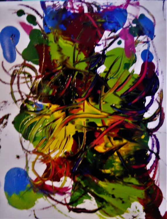 """MORNING MAYHEM 1 Abstract Acrylic Flower Painting on 12 x 9"""" mix media paper, acrylic, by Outsider Stacey Torres Artist, Flowers"""
