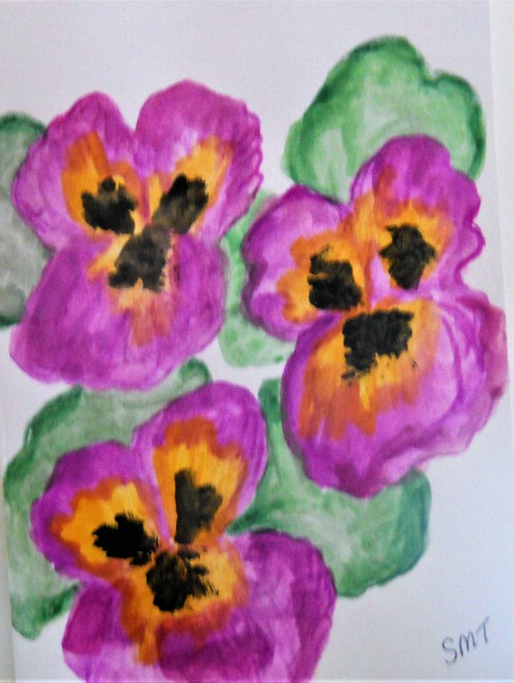 Original Hand Painted Blank Note/Greeting Card w/Envelope, Watercolor Painting, Signed Artwork by Stacey Torres, Card 24 Pansies
