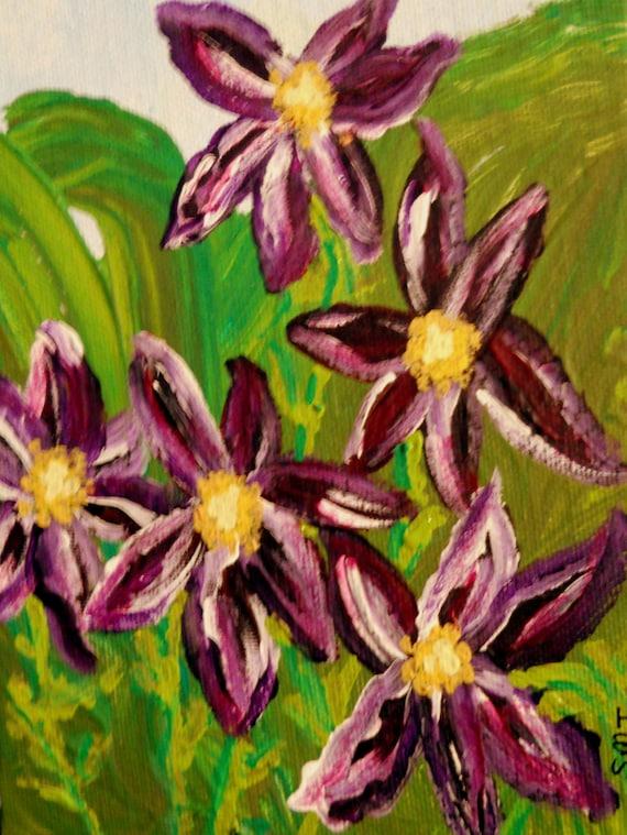 "MIDNIGHT CLEMATIS Acrylic Painting on 5x7"" Canvas Panel, dark purple Clematis, Folk Art, Stacey Torres Artist, Flowers"