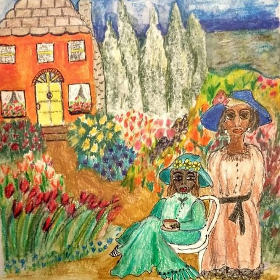 "Watercolors & Colored Pencils Painting on 6x6"" 140 lb. Artist Tile, black women in garden w/townhouse, Stacey Torres Fauvism Folk Art"