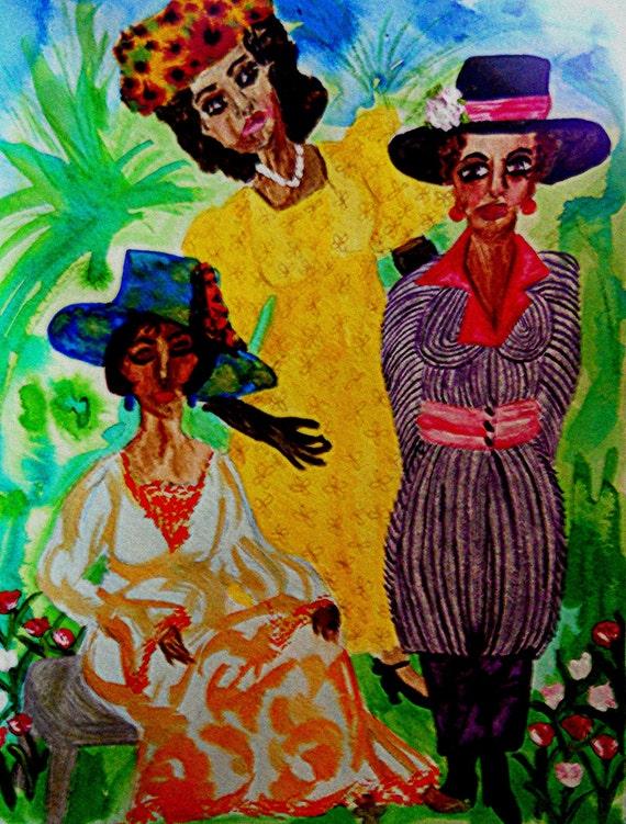 """Original Painting, """"Easter 1918"""" Black Art, Morningside Park, Harlem, African American Art by Stacey Torres (matted/framed) India Ink"""