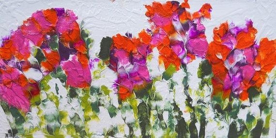 "IMPATIENS 1 & 2, Acrylic Painting w/palette knife on 12 x 24"" Canvas Panel,  Abstract Impressionism, Stacey Torres Artist, Floral Art"