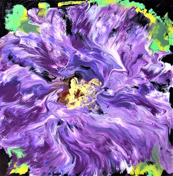 "GRAPE SLASH FLOWER - Acrylic Painting, Abstract Impressionism on a 8 x 8"" mat board, Stacey Torres Artist"