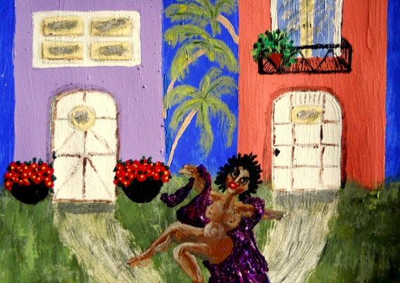 "Original Acrylic Painting, ""DANCING AT DAWN,"" (Nude) African American Artist Stacey Torres 15 x 11"""
