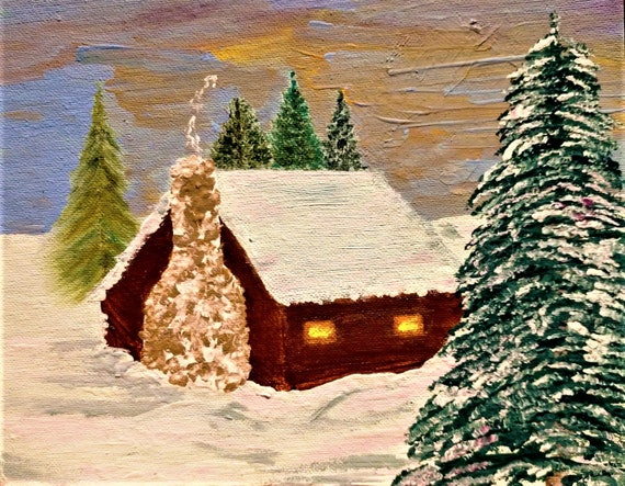 "WINTER EVENING, Acrylic Winter Landscape on 8 x 10"" canvas panel, by Artist Stacey Torres, American Folk Art, cabin in the snow"