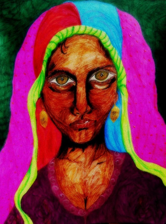 "Archival Prints & Wall Hangings of Original India Ink Painting, ""ZULFIZAR,"" by Ethnic Folk Artist Stacey Torres"