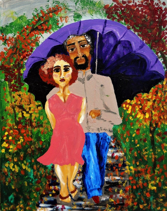 "Original Acrylic Painting ""LOVER'S STROLL"" 20 x 16"" by Artist Stacey Torres - African American Art, Fall Leaves, Couples, Unframed, Canvas"