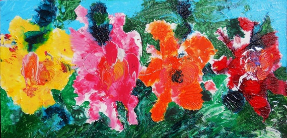 "SOUTHERN HEAT, Acrylic Painting w/palette knife on 12 x 24"" Canvas Panel,  Abstract Impressionism, Stacey Torres Artist, Floral Art"