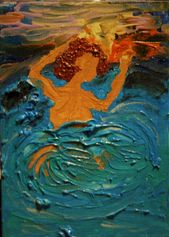 "Evening Cool Down, Acrylic Painting on 7 x 5"" Canvas Panel, Folk Art, Sea Bathing, Stacey Torres Artist, from Island Goddess Series"
