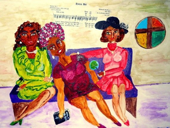 "Archival Print of Original Painting, ""EVEN ME"" from 2014 Church Ladies Series, Black Art, by Hoosier Artist Stacey Torres"