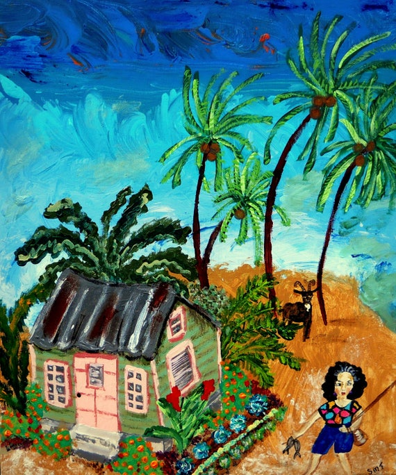 "Today Was Catchin' Day - Acrylic Caribbean Art Painting 16 x 20"" canvas panel, Ethnic Art; Outsider Folk Artist Stacey Torres"
