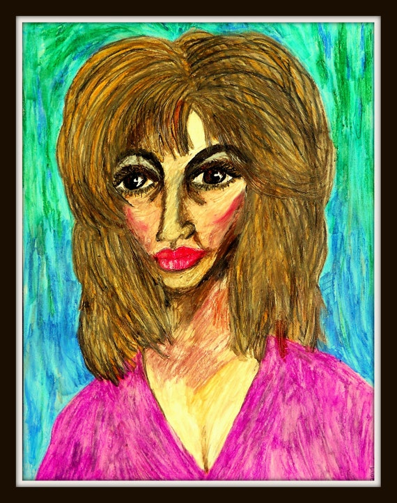 "HANNA - Oil Pastel Painting Portrait of Woman of Color on 24 x 18"" Mix Media Paper, by Outsider Folk Artist Stacey Torres"
