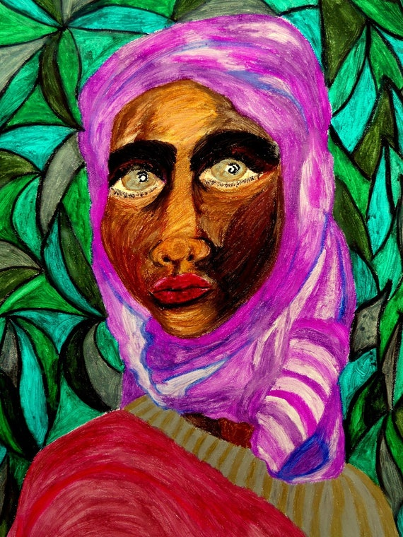 "MUBARAKA - Oil Pastel Painting Portrait of Woman of Color on 24 x 18"" Mix Media Paper, by Outsider Folk Artist Stacey Torres"