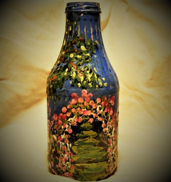 "Hand Painted Bottle Fantasy Garden Landscape Impressionism Painting on a 10"" Glass Bottle, enamel paint w/LED light, by Artist STACEY TORRES"