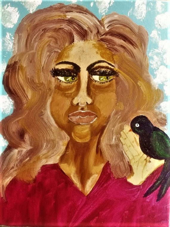 "Original Portrait - ""SHARING MY SECRET,"" Acrylic Painting, 14 x 11"" Canvas. Outsider Art, by Folk Artist Stacey Torres, women's art"