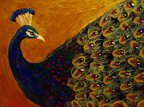 "Stylized Painting. ""HE'S SO FINE!"" a handsome peacock, peafowl, birds, animals, acrylic on 12 x 16"" canvas panel, by Artist Stacey Torres"