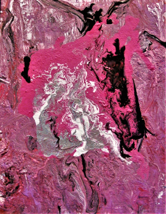 "MALT SHOPPE, Acrylic Pour Painting on a 10 x 8"" canvas panel, Outsider Folk Art, African American Folk Artist Stacey Torres Pinks Mauve"