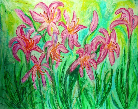 "AUGUST SURPRISE - Oil Pastel of Pink ""Naked Ladies"" a/k/a Surprise Lilies flowers, by Stacey Torres"