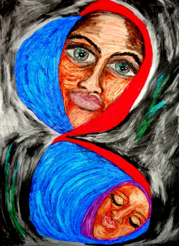 """INFINITE MADONNA - Oil Pastel Painting Portrait of Black Madonna on 24 x 18"""" Mix Media Paper, by Outsider Folk Artist Stacey Torres"""