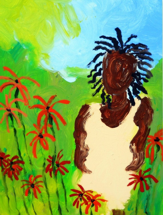 "Abstract Finger Painting, 24 x 18"" Canvas , ""In Memory of Friday,"" Ethnic Folk Art  by African American Artist Stacey Torres"