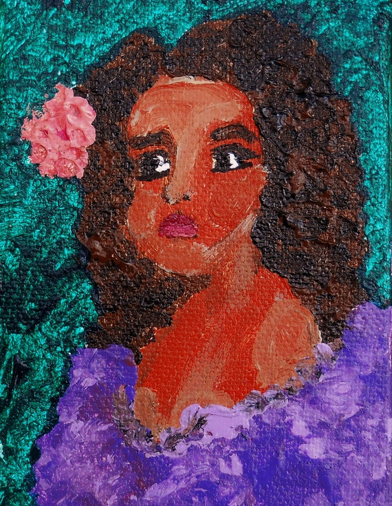 "Original Portrait - ""WILLOW"" Acrylic Painting, 4 x 3"" Canvas. Tiny Art - Award Winning Folk Art, Artist Stacey Torres, women of color art"