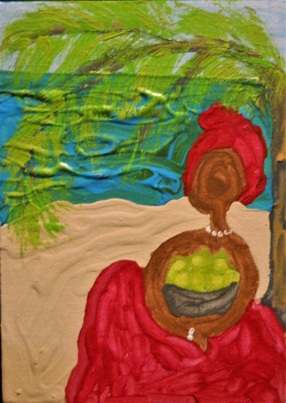 "BREADFRUIT FOR ME, Acrylic Painting on 7 x 5"" Canvas Panel, Folk Art, Stacey Torres Artist, from Island Goddess Series woman on beach"