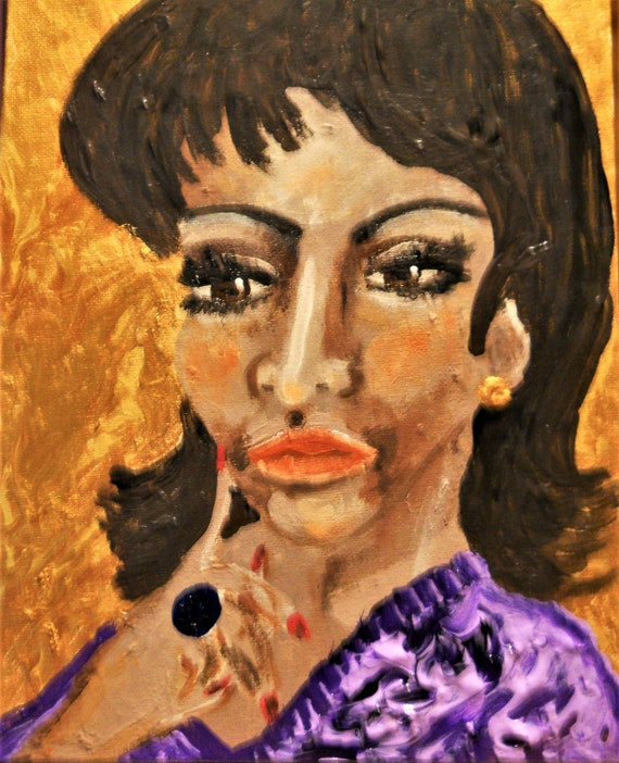 "Original Portrait - ""A YOUNG ARETHA"" Acrylic Painting, 10 x 8"" Canvas Panel. Framed - Outsider Folk Art, by Artist Stacey Torres"