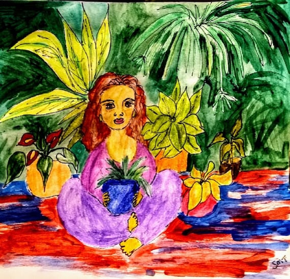 "Archival Giclee Print of Original Ink/Watercolor, Painting, ""LOVE NEST,'' by Artist Stacey Torres, woman with houseplants, BOHO Art"