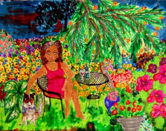 "Archival PRINT of Original Self Portrait, Painting, ""In The Garden With Rudy"" 2nd Edition, by Hoosier Artist Stacey Torres"