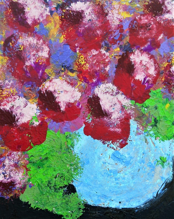 "BOWL OF SUMMER, Acrylic Floral Painting, Abstract Impressionism still life, on a 20 x 16"" canvas, by Artist Stacey Torres, blue pink red"
