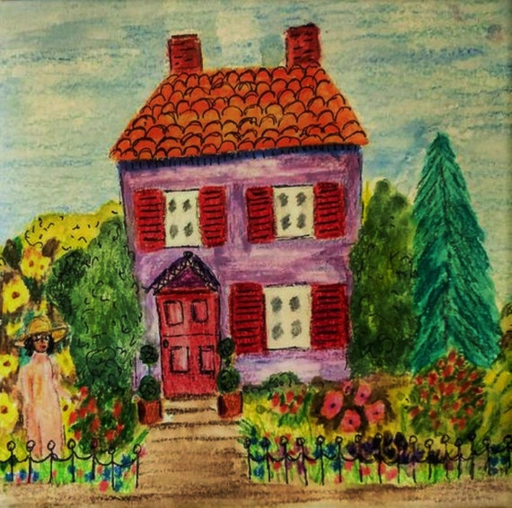 "Watercolors & Colored Pencils Painting on 6x6"" 140 lb. Artist Tile, black woman in garden w/purple house, Stacey Torres Fauvism Folk Art"