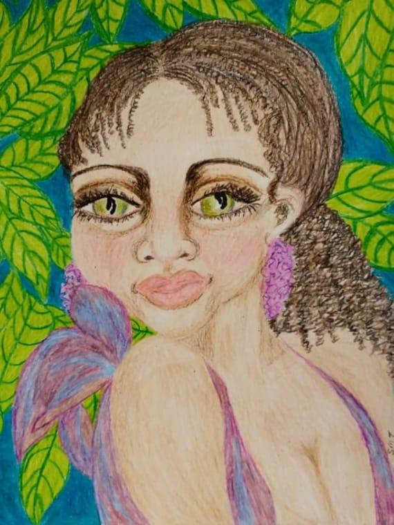 "Original Portrait - ""BONNIE,"" Wax Crayon Drawing, 12 x 9"" Mix Media Paper - Outsider Folk Art, by Artist Stacey Torres, green eyes"