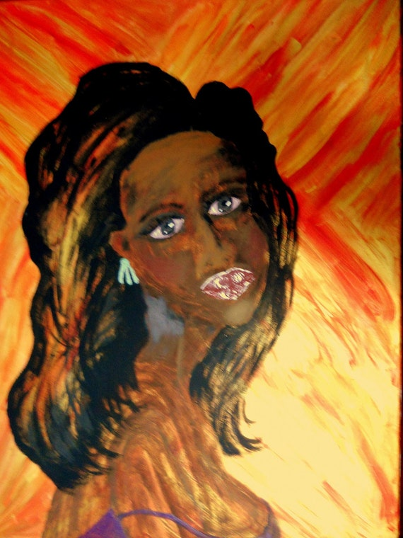 """Acrylic Painting of Woman, 24 x 30"""" Canvas , JEANIE, Ethnic Folk Art  by African American Artist Stacey Torres"""