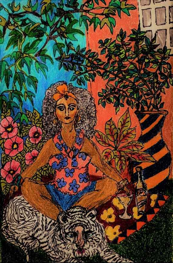 """Archival Giclee Print of Original Painting, """"MY HABITAT,'' by Award Winning Folk Artist Stacey Torres, woman with tiger and wine in garden"""