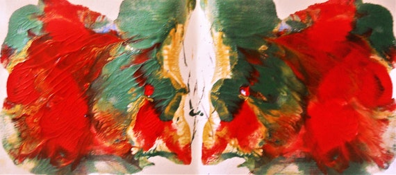 """CANNA LILIES, Abstract Acrylic Flower Painting on 5.5 x 12"""" mix media paper, acrylic, by Outsider Stacey Torres Artist, Flowers"""